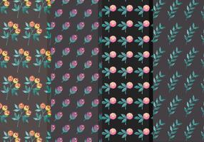 Moody blomma vektor mönster set