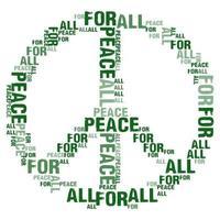 Frieden für alle weißen Hintergrundwortwolkenvektor vektor