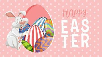 rosa, weißer gepunkteter Osterhintergrund mit Kaninchen und Eiern