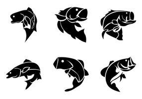 Bass Fische Silhoutte Vektor