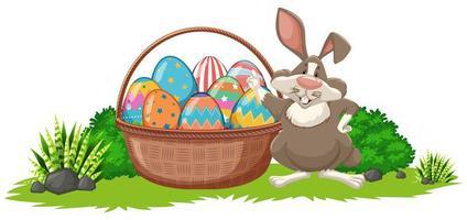 påskbakgrund med kanin och korg full av ägg