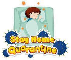 Quarantäne zu Hause bleiben mit einem kranken Jungen im Bett vektor
