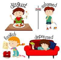 uppsättning barn som uttrycker olika känslor vektor