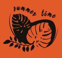 Monsterblatt auf orange Hintergrund