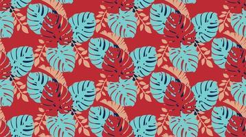 nahtloses Muster mit Monstera-Blättern vektor