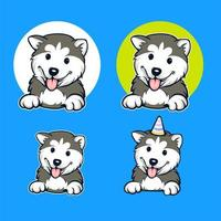 Husky Dog Cartoon Set