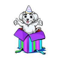hund i födelsedagspresentdesign