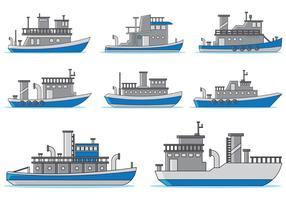 Set av bogserbåtvektor vektor