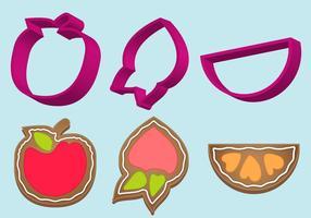 Cookie Cutter Frucht Vektor Set