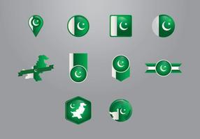Pakistan Flaggen Vektoren