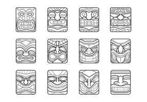 Hawaii tiki mask-vektorpack vektor