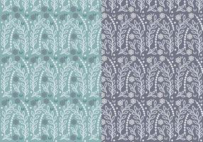 Blaues Blumen-Zweig-Vektor-Muster-Set