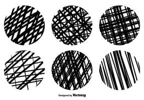 Vector Crosshatch Runde Textur Set