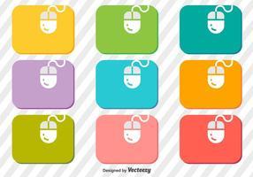 Vektor uppsättning av mus på en musmatta ikoner
