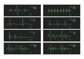 Vektor hjärtmonitor set