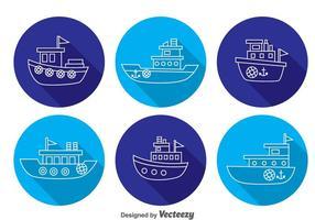 Boote Lange Schatten Icons vektor