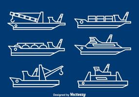Schiffe Und Boote Line Vektor