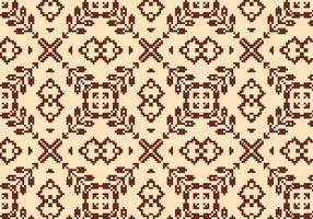 Stitching Brown Blumenmuster vektor