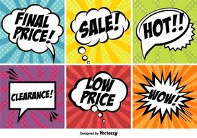 Pop art comic marknadsföring vektor banners set