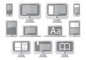 E läsare ikonuppsättning