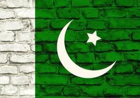 Fri vektor pakistan flagga målade på tegelvägg