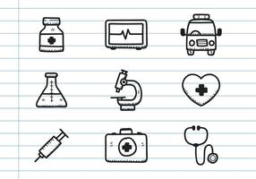 Medicinsk ikon doodle vektor