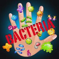 bakterier på mänsklig hand vektor