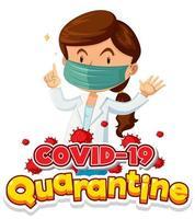 Coronavirus-Plakatentwurf mit Ärztin, die Maske trägt