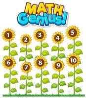 Mathe-Genie mit Zählblumenkarte vektor