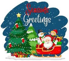 Jahreszeiten Gruß mit Weihnachtsmann und Baum