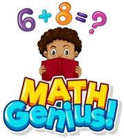 Mathe-Genieplakat mit Jungen, die Hausaufgaben machen vektor