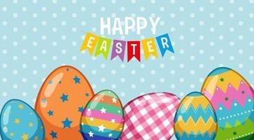 glad påskaffischdesign med dekorerade ägg