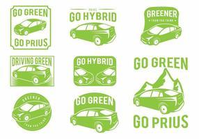 Prius grünes auto abzeichen gesetzt