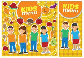 Barn meny kort mall vektor