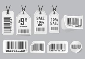 Streckkod Annonsering Klistermärke Design Vektor uppsättning