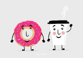 Donut Kaffee Freund Vektoren