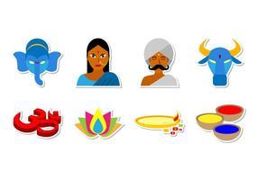 Freie Indien und Hinduismus Icon Vektor