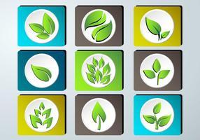 Set von grünen Blättern Design Icon-Set vektor