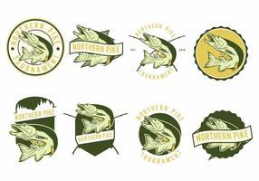 Gädda fisk märken vektor