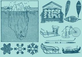 Is och snö objekt vektor