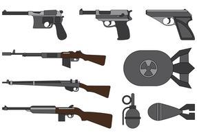 Vektor Sammlung von Weltkrieg 2 Waffen