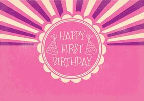 Retro första födelsedagsillustrationen
