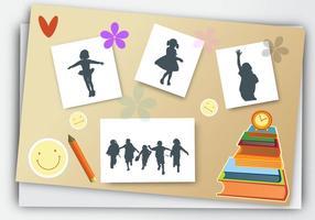Jahrbuch für Schule mit Bleistiften Buch Vektor