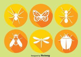 Insekt cirkel ikoner vektor