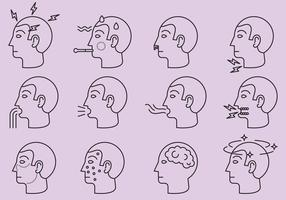 Krankheiten und Affliction Icons
