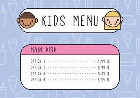 Kinder umrissenes Menü