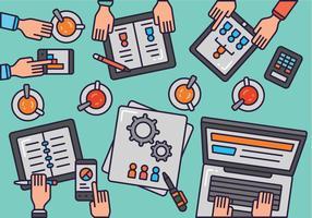 Kreativt team skrivbord topp vy vektor