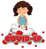 Coronavirus-Thema mit Mädchen, das Hände wäscht vektor