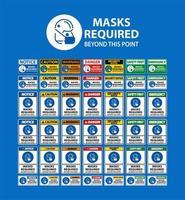 Schilder mit der Aufschrift Gesichtsmasken sind erforderlich vektor