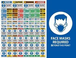 Vorsicht Gesichtsmasken erforderlich '' jenseits dieses Punktes '' Zeichen vektor